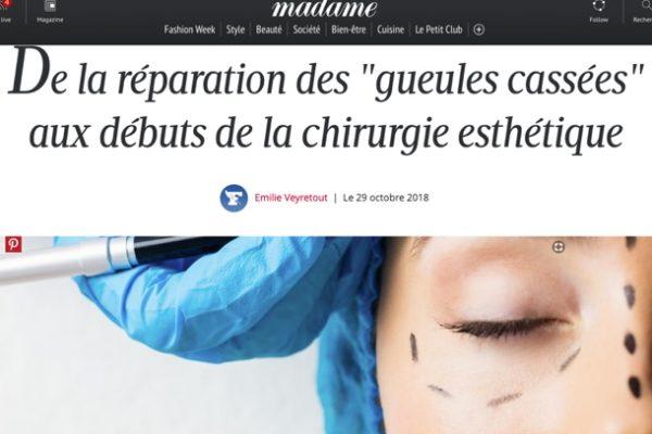 Madame Figaro – Dr Berdah : «De la réparation des «gueules cassées» au début de la chirurgie esthétique»